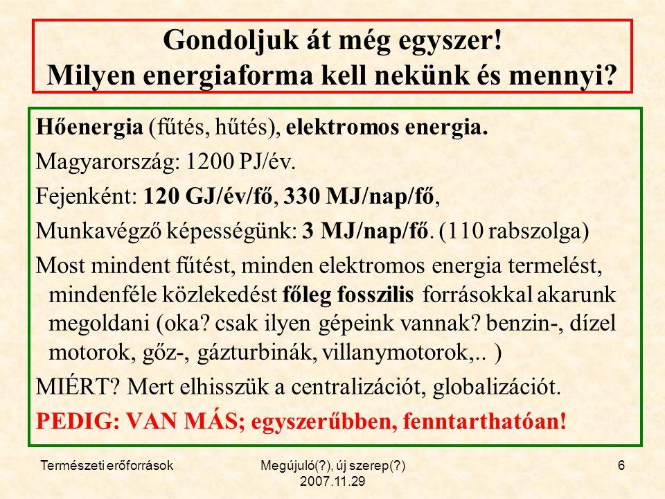 Természeti erőforrásokMegújuló(?), új szerep(?) 2007.11.29 27 Köszönöm a figyelmet