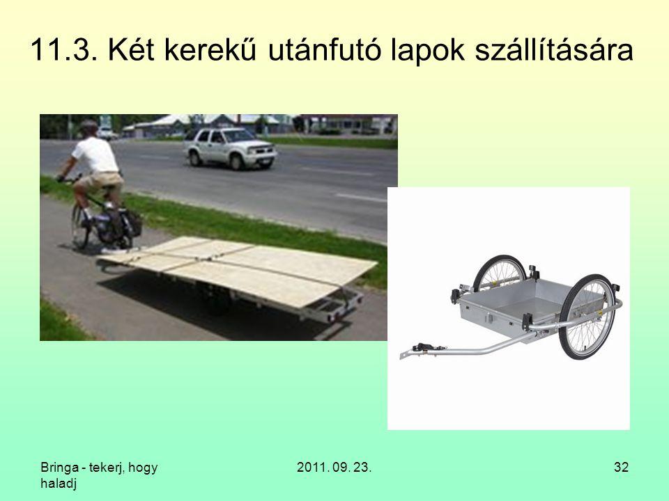 Bringa - tekerj, hogy haladj 2011. 09. 23.32 11.3. Két kerekű utánfutó lapok szállítására
