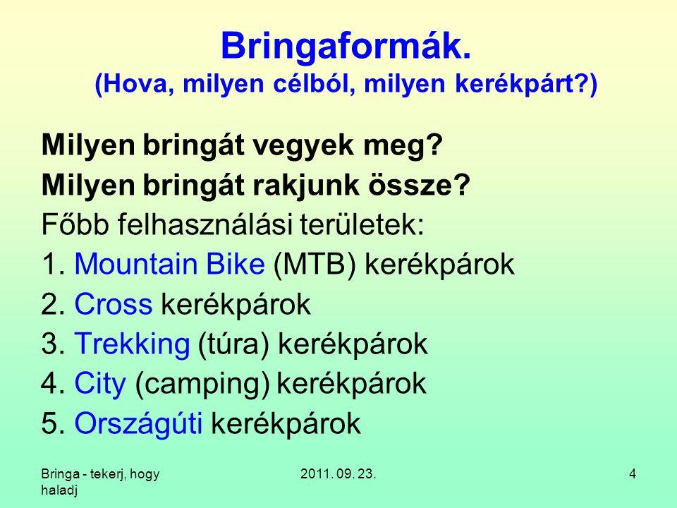 Bringa - tekerj, hogy haladj 2011. 09. 23.25 11.1. Kerékpár + hajtott utánfutó kerék