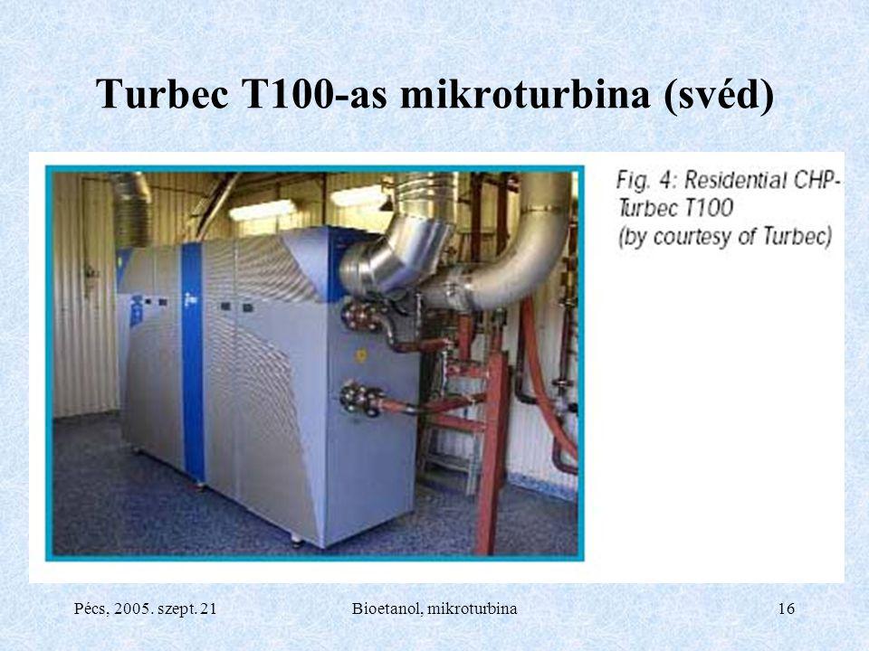 Pécs, 2005. szept. 21Bioetanol, mikroturbina16 Turbec T100-as mikroturbina (svéd)