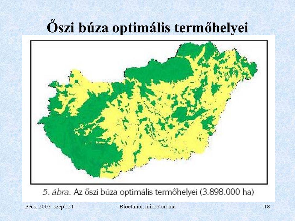 Pécs, 2005. szept. 21Bioetanol, mikroturbina18 Őszi búza optimális termőhelyei