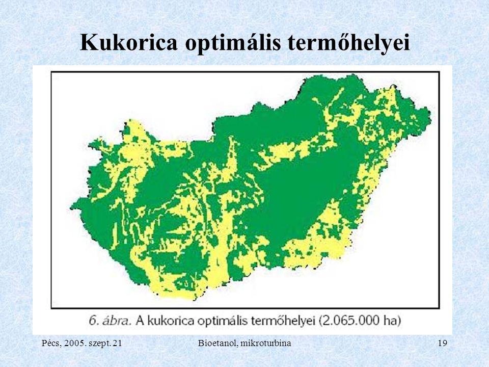 Pécs, 2005. szept. 21Bioetanol, mikroturbina19 Kukorica optimális termőhelyei