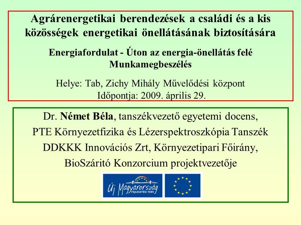 Agrárenergetikai berendezések a családi és a kis közösségek energetikai önellátásának biztosítására Energiafordulat - Úton az energia-önellátás felé M