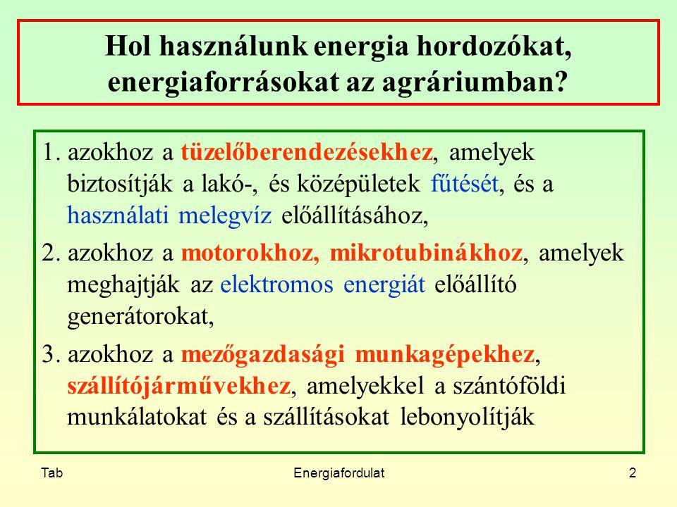 TabEnergiafordulat3 Növényi tüzelőanyagok jellemzői Előfordulás formája, helye Betakarítás, begyűjtés ideje Nedvességtartalom Méret Égéshő és a fűtőérték Éghető komponensek (C, H, S, Cl,..) Égéstermékek (CO2, H2O, SO2, ) Hamutartalom