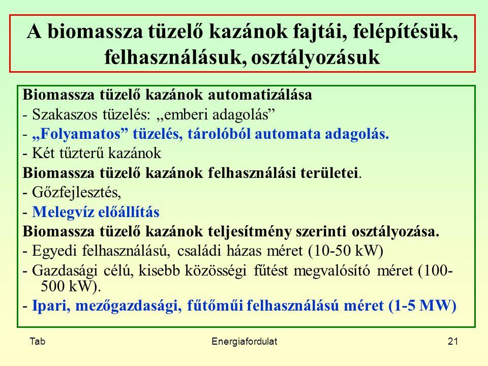 TabEnergiafordulat21 A biomassza tüzelő kazánok fajtái, felépítésük, felhasználásuk, osztályozásuk Biomassza tüzelő kazánok automatizálása - Szakaszos