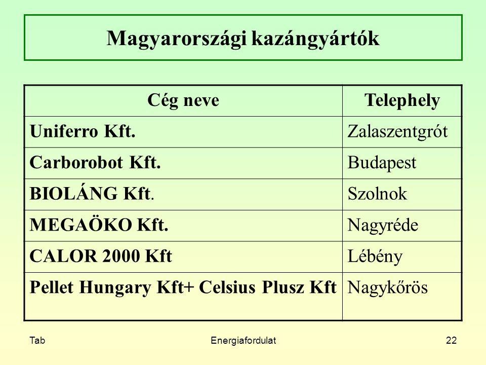 TabEnergiafordulat22 Magyarországi kazángyártók Cég neveTelephely Uniferro Kft.Zalaszentgrót Carborobot Kft.Budapest BIOLÁNG Kft.Szolnok MEGAÖKO Kft.N