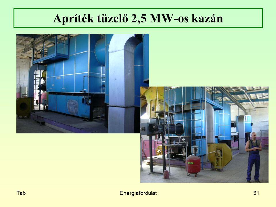 TabEnergiafordulat31 Apríték tüzelő 2,5 MW-os kazán