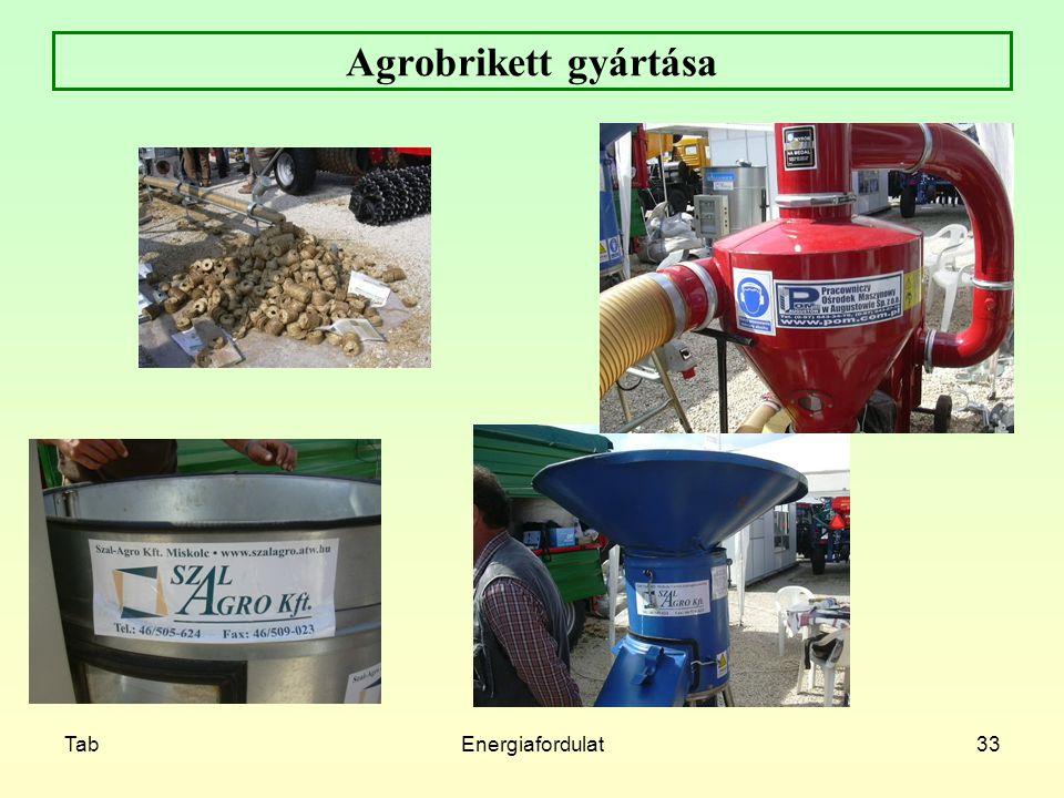 TabEnergiafordulat33 Agrobrikett gyártása