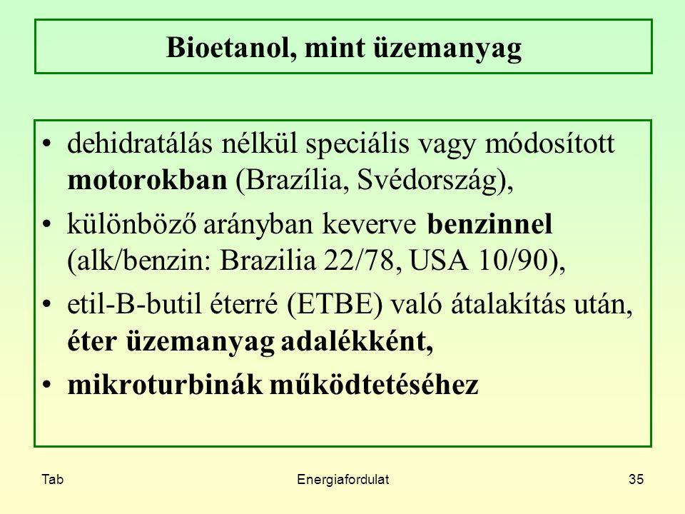 TabEnergiafordulat35 Bioetanol, mint üzemanyag dehidratálás nélkül speciális vagy módosított motorokban (Brazília, Svédország), különböző arányban kev