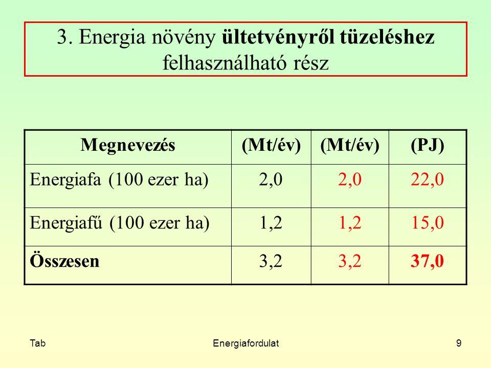 TabEnergiafordulat9 3. Energia növény ültetvényről tüzeléshez felhasználható rész Megnevezés(Mt/év) (PJ) Energiafa (100 ezer ha)2,0 22,0 Energiafű (10