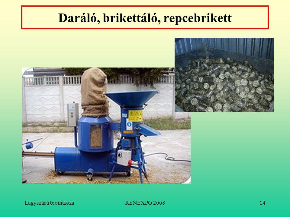 Lágyszárú biomasszaRENEXPO 200814 Daráló, brikettáló, repcebrikett