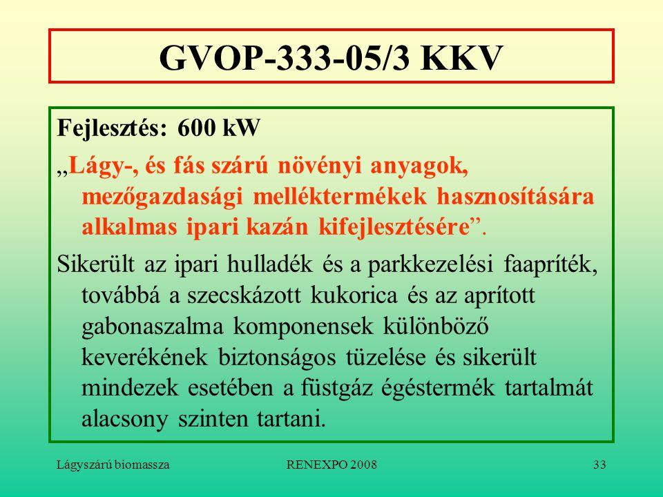 """Lágyszárú biomasszaRENEXPO 200833 GVOP-333-05/3 KKV Fejlesztés: 600 kW """"Lágy-, és fás szárú növényi anyagok, mezőgazdasági melléktermékek hasznosításá"""