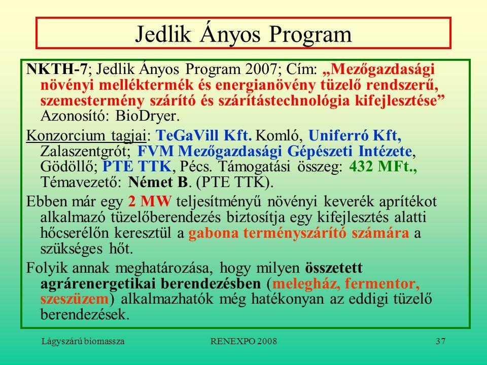 """Lágyszárú biomasszaRENEXPO 200837 Jedlik Ányos Program NKTH-7; Jedlik Ányos Program 2007; Cím: """"Mezőgazdasági növényi melléktermék és energianövény tü"""