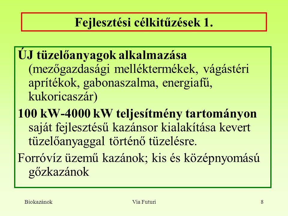 """BiokazánokVia Futuri9 Pályázatok, kapcsolatok, alkalmazások GVOP KKV K+F pályázat: """"Lágy-, és fás szárú növényi anyagok, mezőgazdasági melléktermékek hasznosítására alkalmas ipari kazán kifejlesztése GVOP-3.3.3-05/3.-2006-04-0138/3.0."""