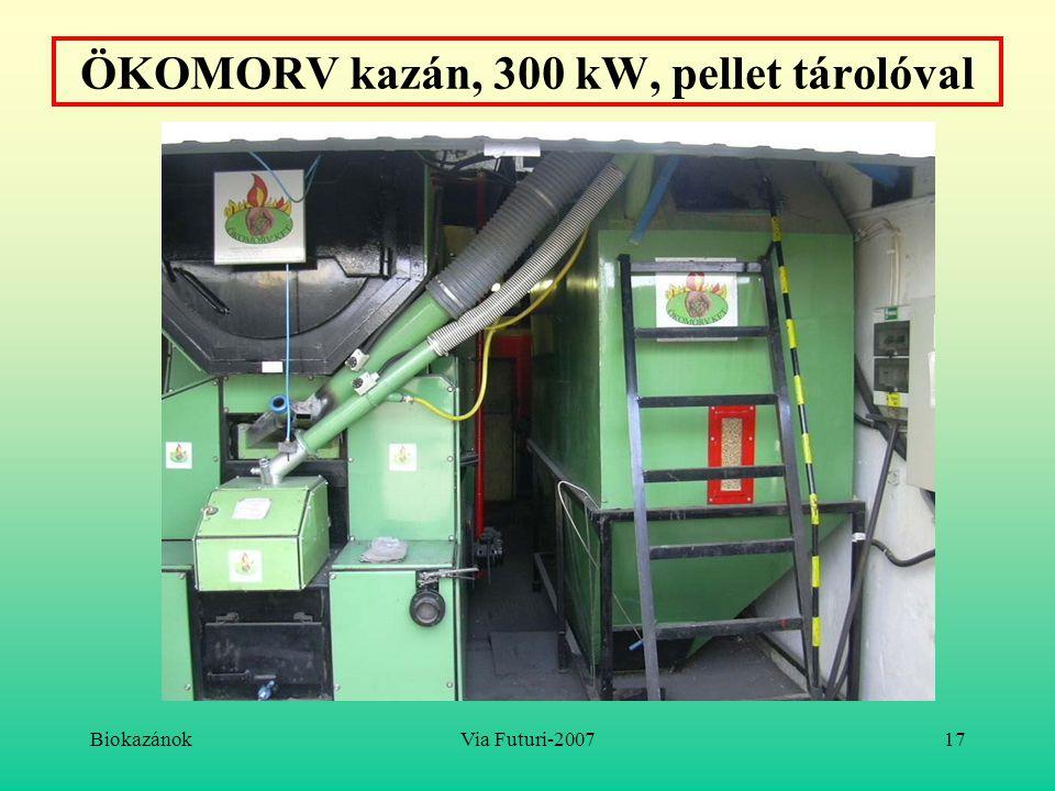 BiokazánokVia Futuri-200717 ÖKOMORV kazán, 300 kW, pellet tárolóval