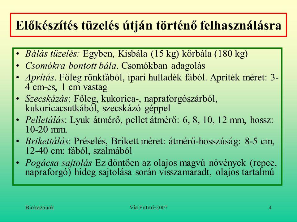 BiokazánokVia Futuri-20074 Előkészítés tüzelés útján történő felhasználásra Bálás tüzelés: Egyben, Kisbála (15 kg) körbála (180 kg) Csomókra bontott b