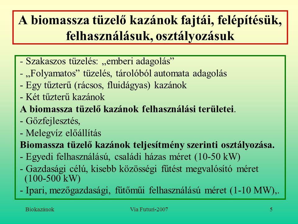"""BiokazánokVia Futuri-20075 A biomassza tüzelő kazánok fajtái, felépítésük, felhasználásuk, osztályozásuk - Szakaszos tüzelés: """"emberi adagolás"""" - """"Fol"""