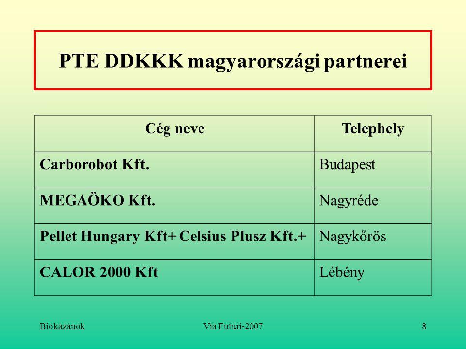 BiokazánokVia Futuri-20078 PTE DDKKK magyarországi partnerei Cég neveTelephely Carborobot Kft.Budapest MEGAÖKO Kft.Nagyréde Pellet Hungary Kft+ Celsiu