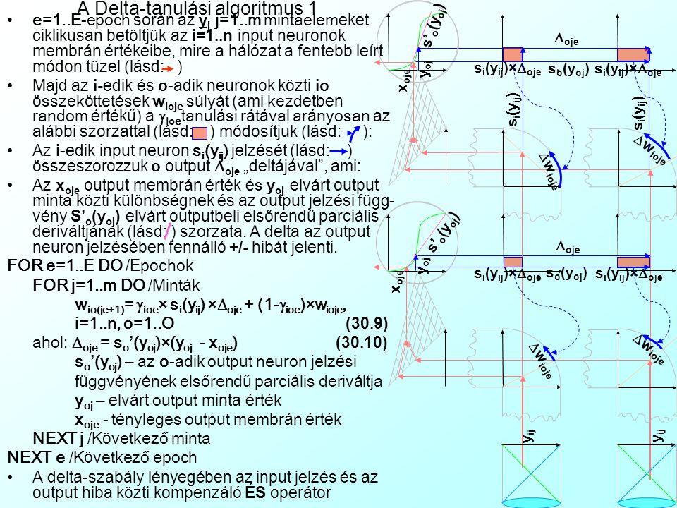 y ij Delta tanulási szabály A hozzá szükséges há l ó zati topol ó gia: Perceptron (Perceptron): - Az i=1..n input é s o=1..O output neuronokb ó l á ll ó k é tmezős (Dual-Layer) h á l ó zat io mezők ö zti teljes előrecsatol á st (Full Feedforward Connection) tartalmaz -A z output neuronok addit í v aggreg á ci ó j ú ak, az inputok jelz é si f ü ggv é nye line á ris, az outputok é S-g ö rbe A Perceptron aktiv á ci ó ja - Előrecsatol ó h á l ó zatk é nt egy l é p é sben x oj output membr á n é rt é keket sz á m í t ki az input mezőbe töltött y ij mint á kb ó l: x oj =  i (w io × s i (y ij ))/  i (w io ), i=1..n, o=1..O, j=1..m (30.8) Input x it S i (x it ) ii ii uiui lili ii x ot S o (x ot ) oo oo uouo lolo Input x it S i (x it ) ii ii uiui lili ii x ot S o (x ot ) oo oo uouo lolo w io s i (y ij ) ×w io x oj Avg i s o (x oj ) A perceptron aktivációja jelzési diagrammon: y ij s i (y ij ) s o (x oj ) A perceptron aktivációja I/O diagrammon: