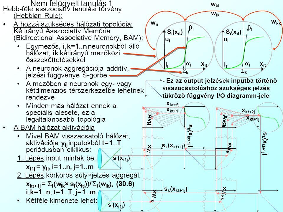Neurális rendszerek tanulása A tanul á ssal kapcsolatos alapfogalmak: Tanul á s (Learning): –A neur á lis h á l ó zat kezdetben v é letlen é rt é kű w szinaptikus s ú lyainak m ó dos í t á sa annak é rdek é ben, hogy a h á l ó zat a k í v á nt viselked é st mutassa Tan í t ó minta (Teaching Sample/Pattern Set) – Az i=1..n input é s o=1..O output v á ltoz ó k kor á bban megfigyelt y j ={y ij i=1..n, y oj o=1..O} j=1..m vektoraib ó l á ll ó adatb á zis  tanul á si r á ta (Learning R ate): –[0,1] k ö zti skal á r, amely azt fejezi ki, hogy a neur á lis h á l ó zat milyen gyorsan saj á t í tja el az ú j ismereteket a r é giek fel ü l í r á s á val –Magas tanul á si r á ta gyorsabb tanul á st, de roml ó á ltal á nos í t á si é s memoriz á ci ó s k é pess é get jelent:  =1 nincs mem ó ria, csak az utols ó minta tanul á sa (pl.