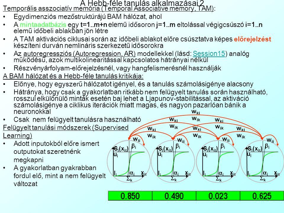 A Hebb-féle tanulás alkalmazásai 1 Egyszerűbb karakter felismer é s (Character Recognition): K é tdimenzi ó s mezőstrukt ú r át alkalmazunk, a mint á k egy k é tdimenzi ó s pixelr á csban defini á l ó dnak (itt pl.