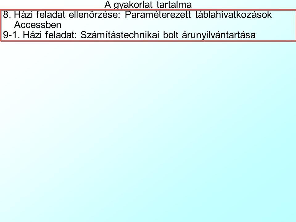 Adatbázis-tervezés konzultáció 9. Gyakorlat Dr. Pauler Gábor, egyetemi docens, ev. Adószám: 63673852-3-22 Számlaszám: 50400113-11065546 Telephely: 766