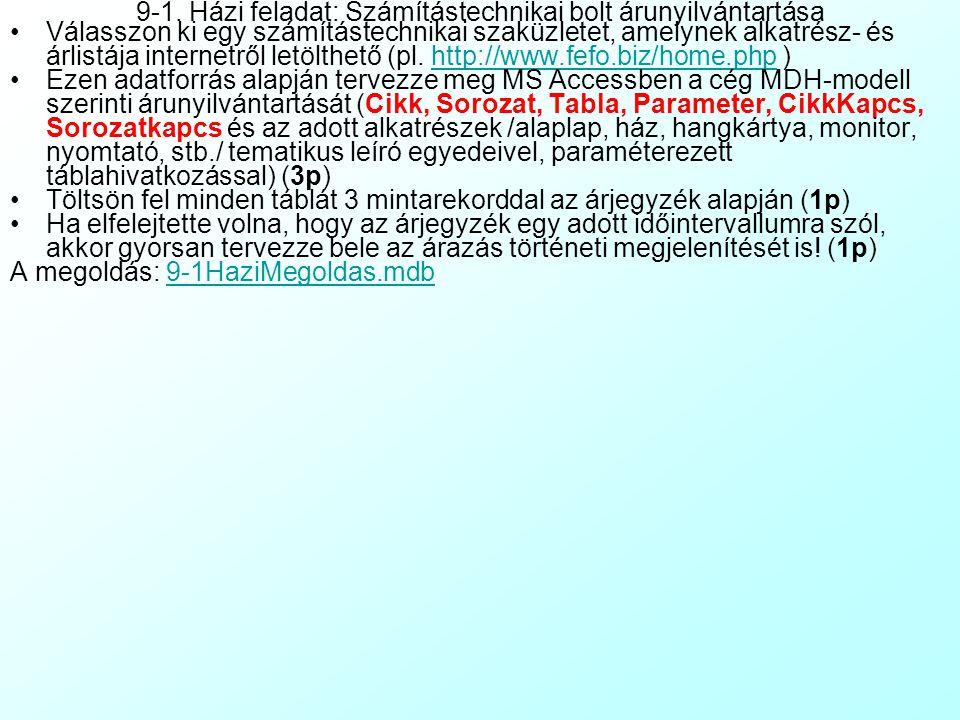 Válasszon ki egy számítástechnikai szaküzletet, amelynek alkatrész- és árlistája internetről letölthető (pl.