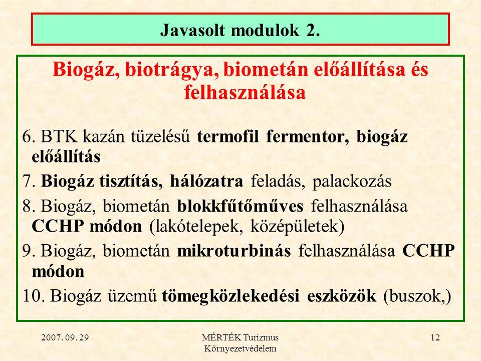 2007. 09. 29MÉRTÉK Turizmus Környezetvédelem 12 Javasolt modulok 2.