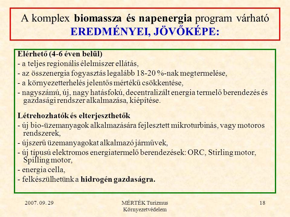 2007. 09. 29MÉRTÉK Turizmus Környezetvédelem 18 A komplex biomassza és napenergia program várható EREDMÉNYEI, JÖVŐKÉPE: Elérhető (4-6 éven belül) - a