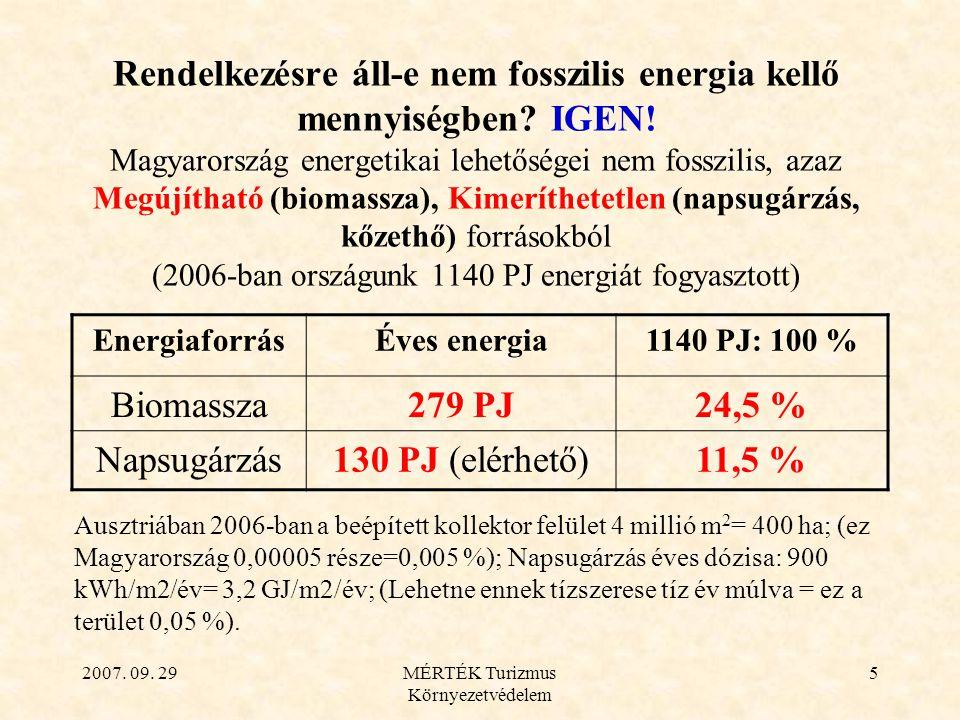 2007. 09. 29MÉRTÉK Turizmus Környezetvédelem 5 Rendelkezésre áll-e nem fosszilis energia kellő mennyiségben? IGEN! Magyarország energetikai lehetősége