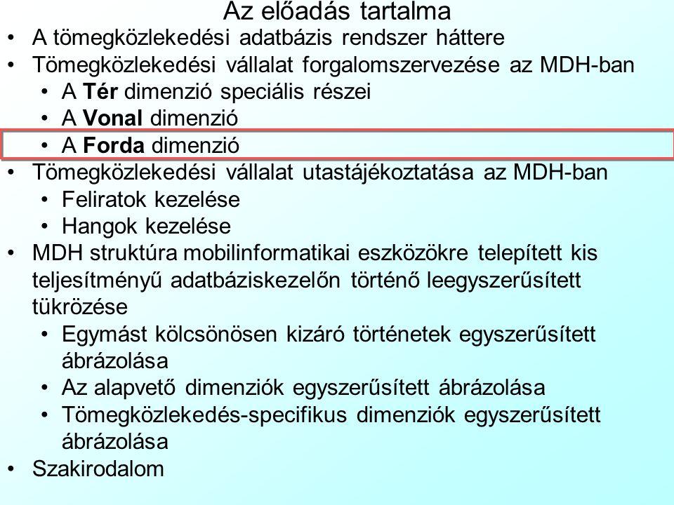 Forgalomszervezés: a Vonal dimenzió 8 A MenetIdo egyedhez 1:több kapcsolódó MenetIdoSor egyed és a hozzá kötődő táblanégyes adott Viszonylaton adott i