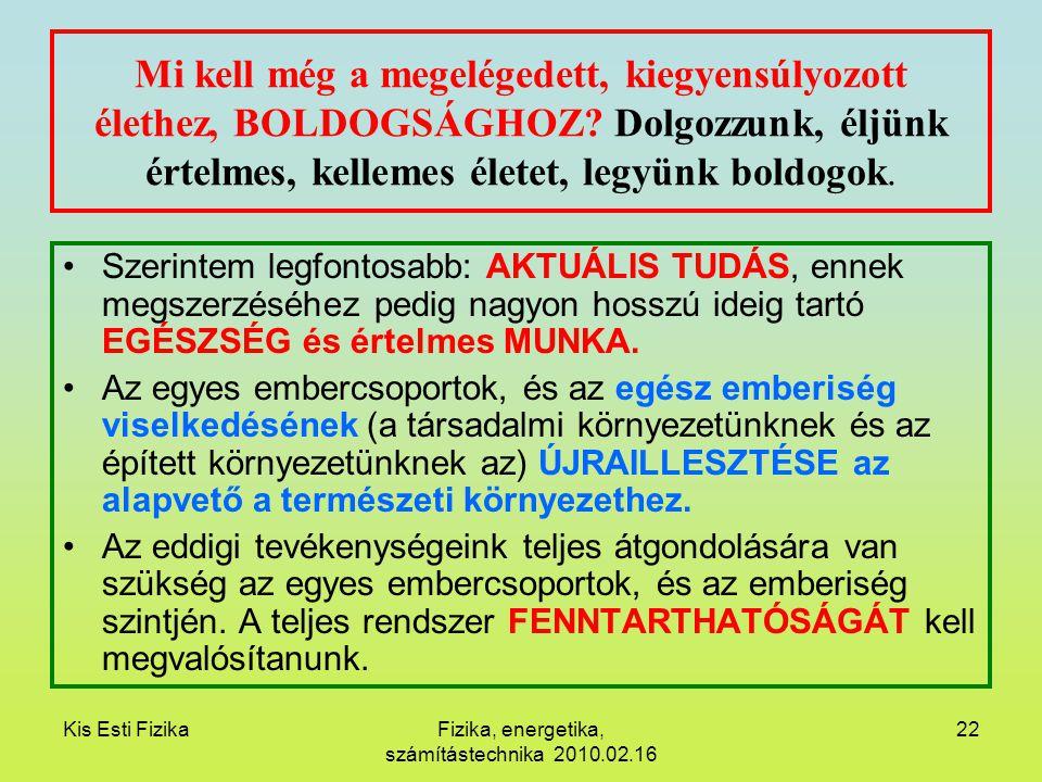 Kis Esti FizikaFizika, energetika, számítástechnika 2010.02.16 22 Mi kell még a megelégedett, kiegyensúlyozott élethez, BOLDOGSÁGHOZ? Dolgozzunk, éljü