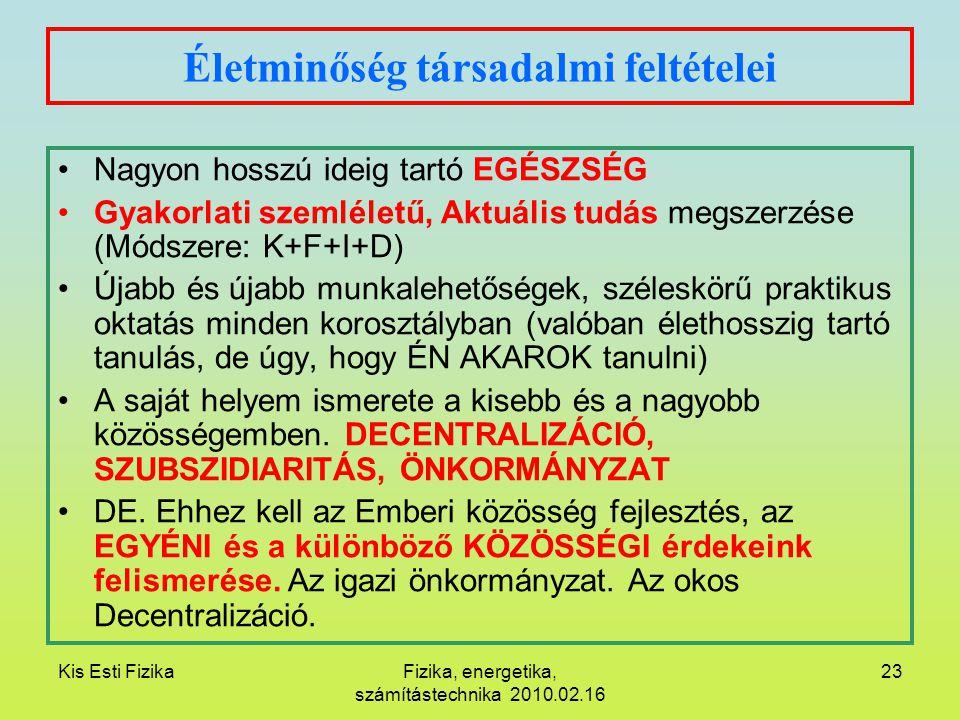 Kis Esti FizikaFizika, energetika, számítástechnika 2010.02.16 23 Életminőség társadalmi feltételei Nagyon hosszú ideig tartó EGÉSZSÉG Gyakorlati szem