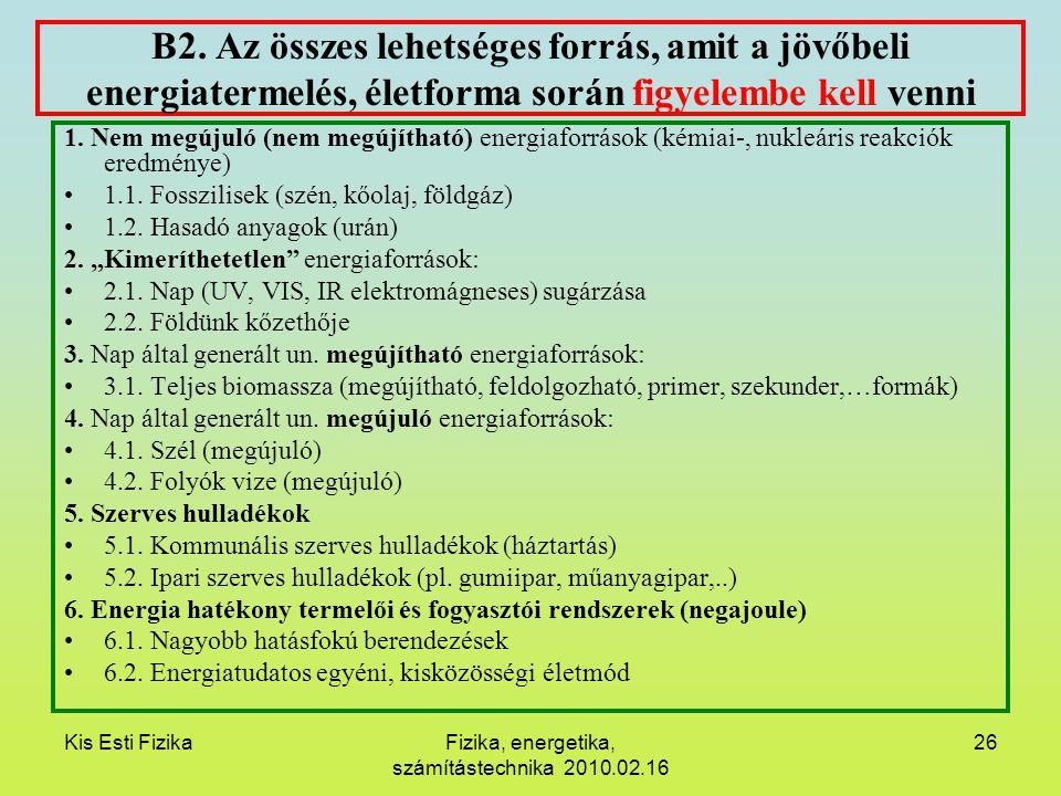 Kis Esti FizikaFizika, energetika, számítástechnika 2010.02.16 26 B2. Az összes lehetséges forrás, amit a jövőbeli energiatermelés, életforma során fi