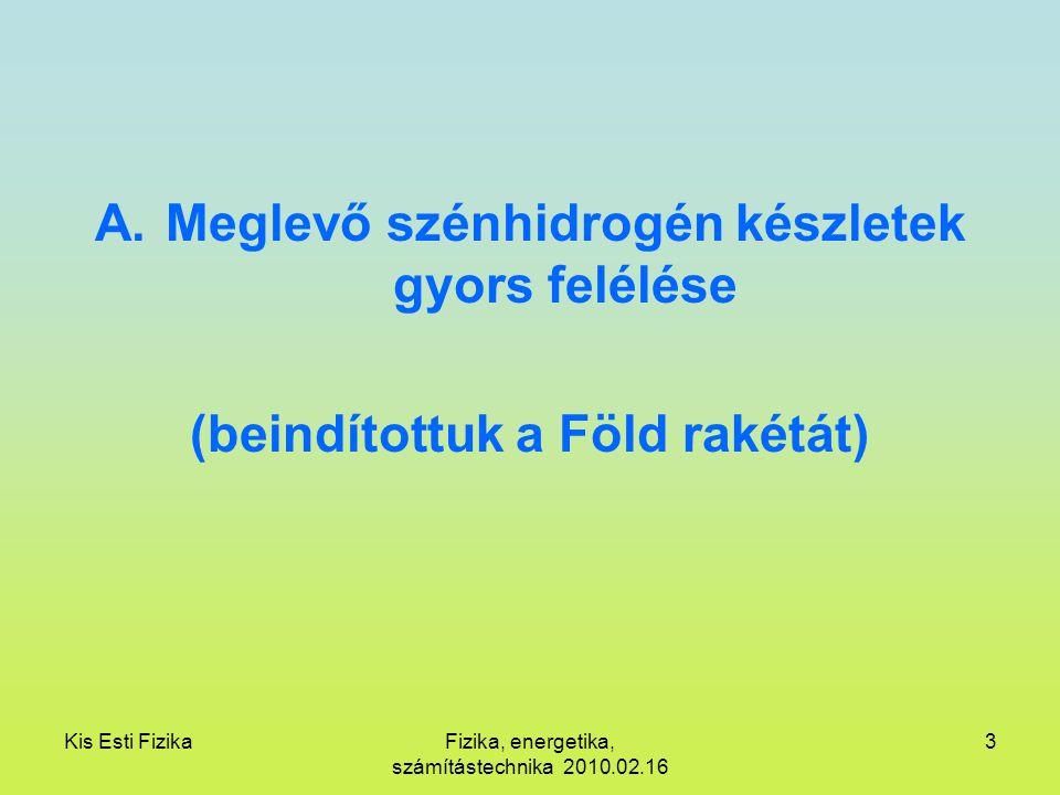 Kis Esti FizikaFizika, energetika, számítástechnika 2010.02.16 3 A.Meglevő szénhidrogén készletek gyors felélése (beindítottuk a Föld rakétát)