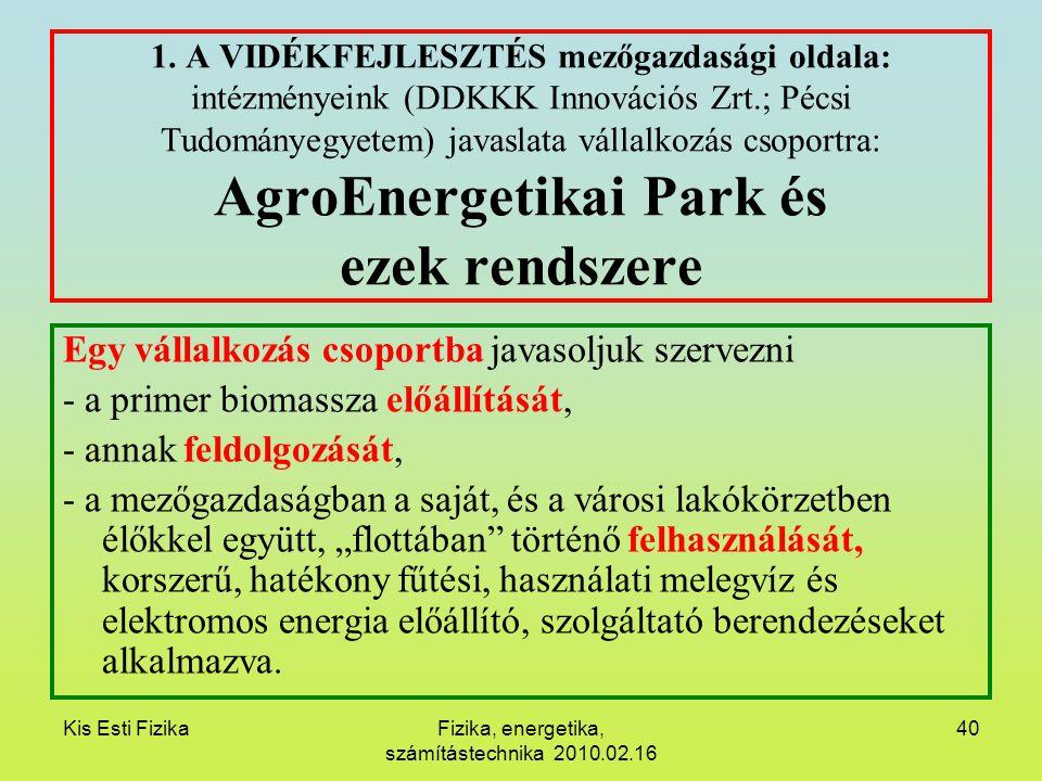 Kis Esti FizikaFizika, energetika, számítástechnika 2010.02.16 40 1. A VIDÉKFEJLESZTÉS mezőgazdasági oldala: intézményeink (DDKKK Innovációs Zrt.; Péc