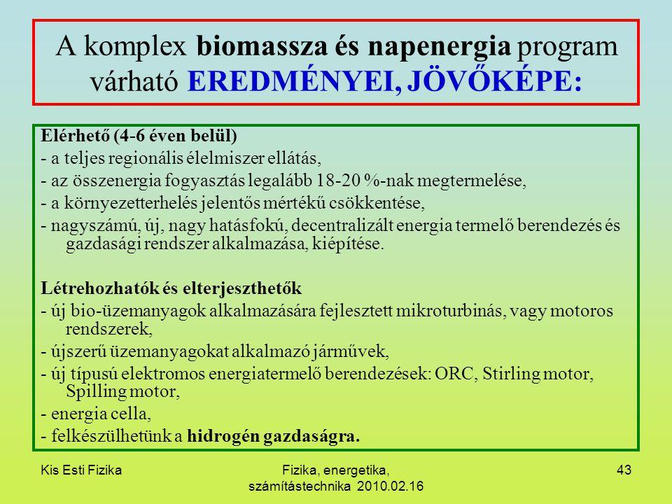 Kis Esti FizikaFizika, energetika, számítástechnika 2010.02.16 43 A komplex biomassza és napenergia program várható EREDMÉNYEI, JÖVŐKÉPE: Elérhető (4-