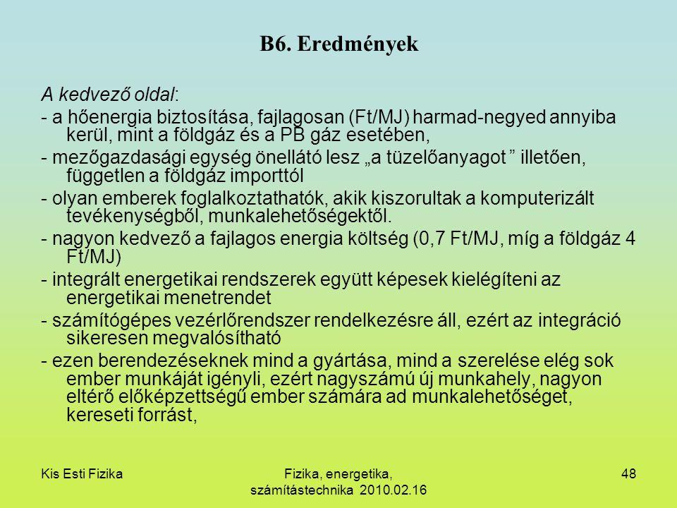 Kis Esti FizikaFizika, energetika, számítástechnika 2010.02.16 48 B6. Eredmények A kedvező oldal: - a hőenergia biztosítása, fajlagosan (Ft/MJ) harmad