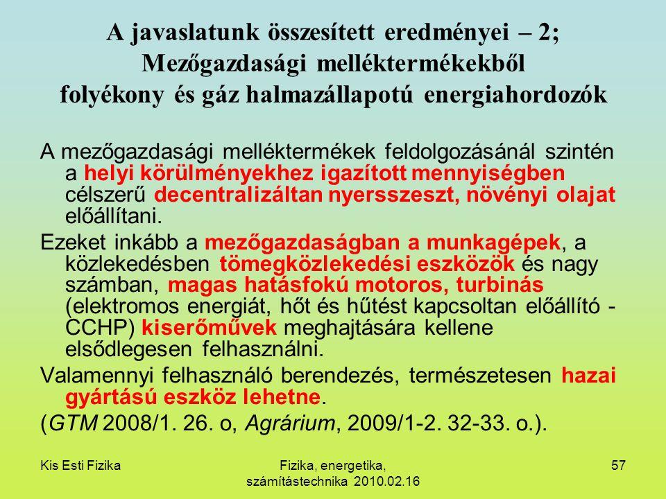 Kis Esti FizikaFizika, energetika, számítástechnika 2010.02.16 57 A javaslatunk összesített eredményei – 2; Mezőgazdasági melléktermékekből folyékony