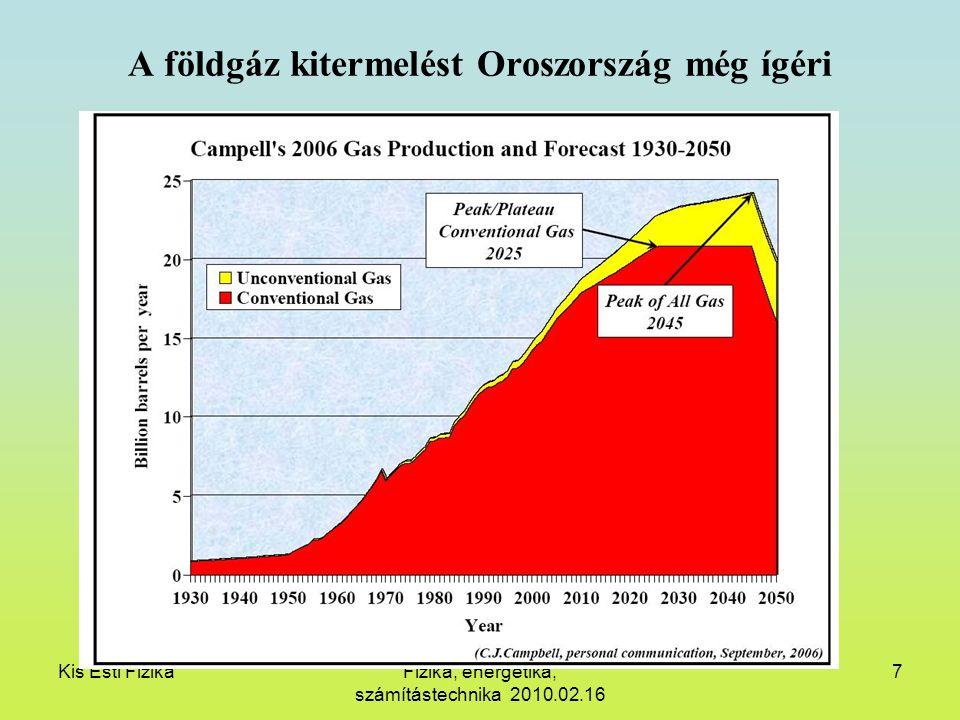 Kis Esti FizikaFizika, energetika, számítástechnika 2010.02.16 7 A földgáz kitermelést Oroszország még ígéri