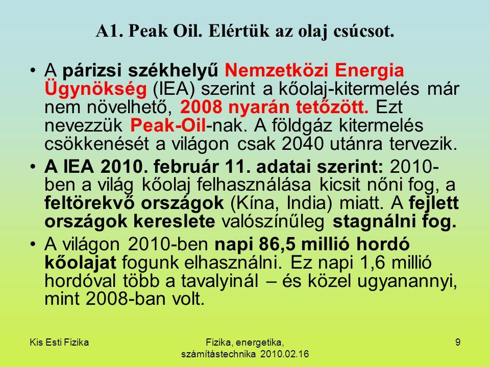 Kis Esti FizikaFizika, energetika, számítástechnika 2010.02.16 9 A1. Peak Oil. Elértük az olaj csúcsot. A párizsi székhelyű Nemzetközi Energia Ügynöks