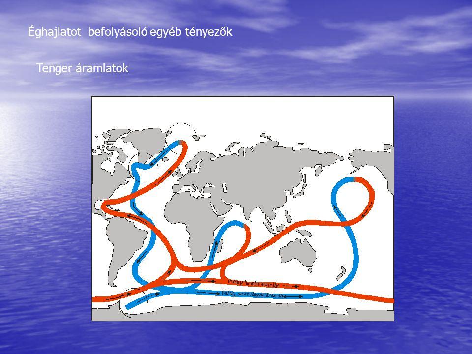 Éghajlatot befolyásoló egyéb tényezők Tenger áramlatok