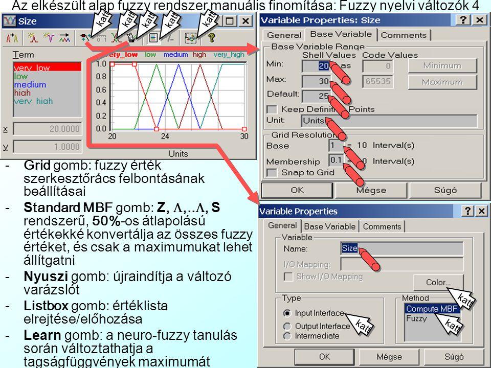 Az elkészült alap fuzzy rendszer manuális finomítása: Fuzzy nyelvi változók 4 - Grid gomb: fuzzy é rt é k szerkesztőr á cs felbont á s á nak be á ll í