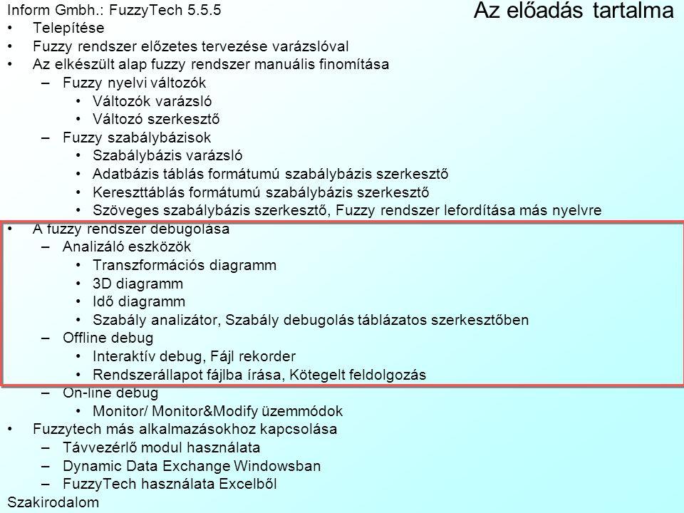 Az előadás tartalma Inform Gmbh.: FuzzyTech 5.5.5 Telepítése Fuzzy rendszer előzetes tervezése varázslóval Az elkészült alap fuzzy rendszer manuális f