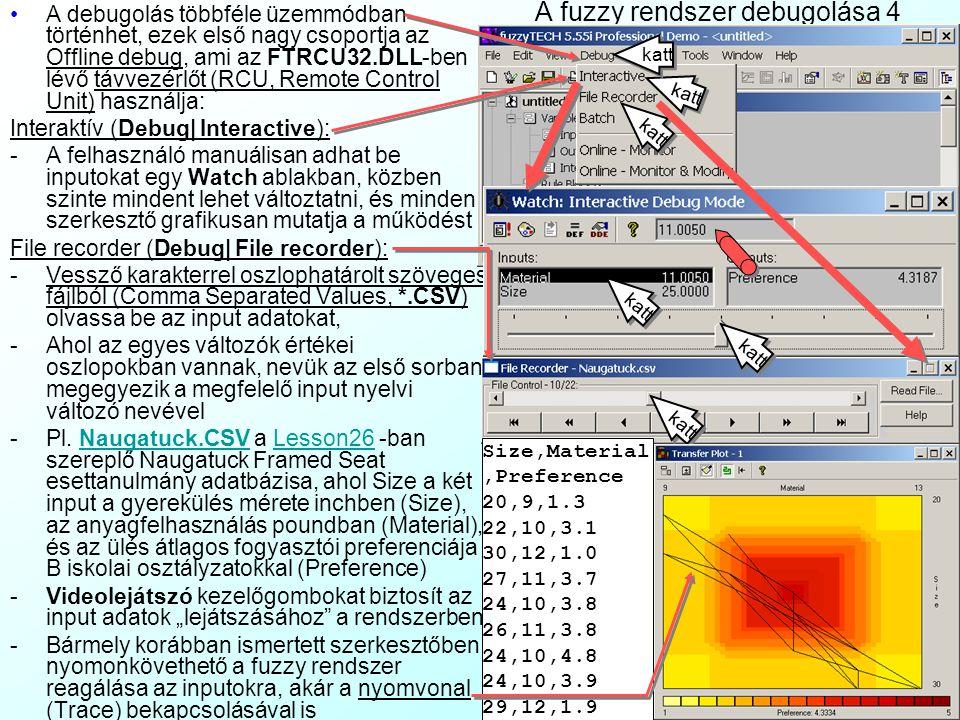 A fuzzy rendszer debugolása 4 A debugolás többféle üzemmódban történhet, ezek első nagy csoportja az Offline debug, ami az FTRCU32.DLL-ben lévő távvez