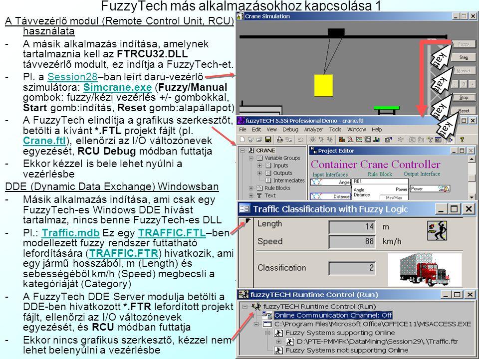 FuzzyTech más alkalmazásokhoz kapcsolása 1 A Távvezérlő modul (Remote Control Unit, RCU) használata -A másik alkalmazás indítása, amelynek tartalmazni