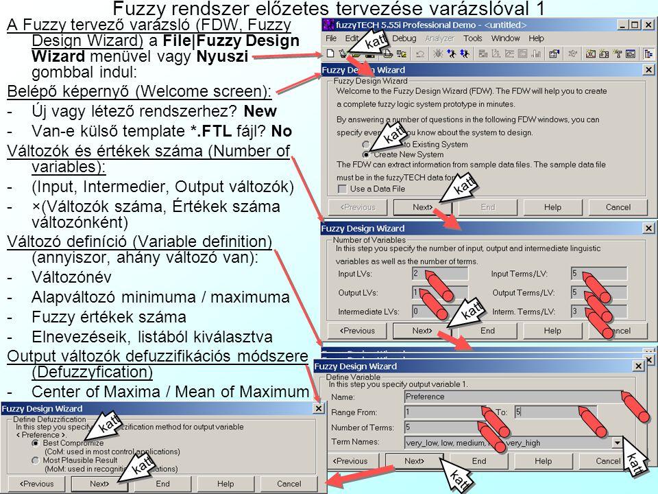 Fuzzy rendszer előzetes tervezése varázslóval 1 A Fuzzy tervező varázsló (FDW, Fuzzy Design Wizard) a File|Fuzzy Design Wizard menüvel vagy Nyuszi gom