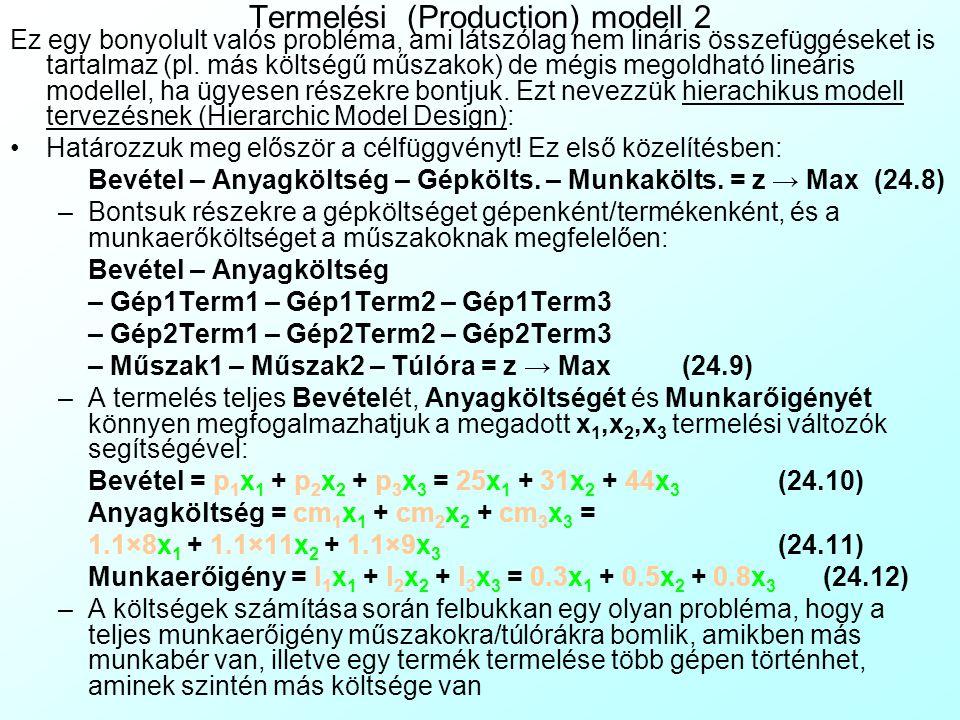 Termelési (Production) modell 1 Elsőként nézzük meg a 24.1 iskolapélda egy sokkal valószerűbb változatát! Jelmagyarázat: A modell változókat zölddel,