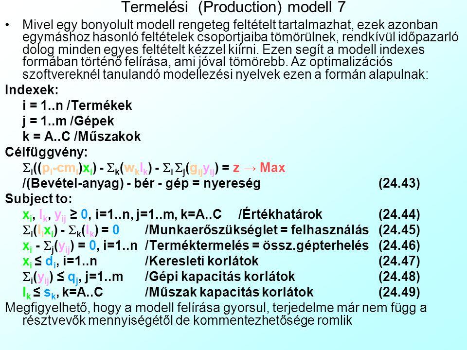 Termelési (Production) modell 6 A kész modellt szimbólumokkal is felírhatjuk, általános formában, ekkor függetlenné válik a konkrét számadatoktól. Ily