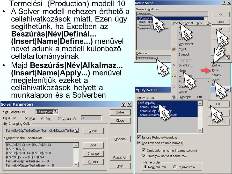 Termelési (Production) modell 9 A TermelesiModell.xls fájl a termelési modell felírására mutat példát Excelben.TermelesiModell.xls A zöld döntési változók itt az újonnan bevezetett lila részváltozók összegei
